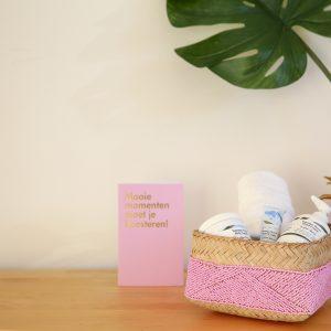 handmade bamboo basket pink