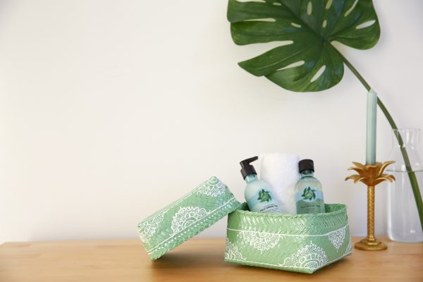 hand-painted bamboo basket spa mint