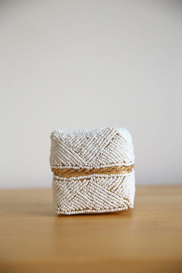 basket bamboo beads white