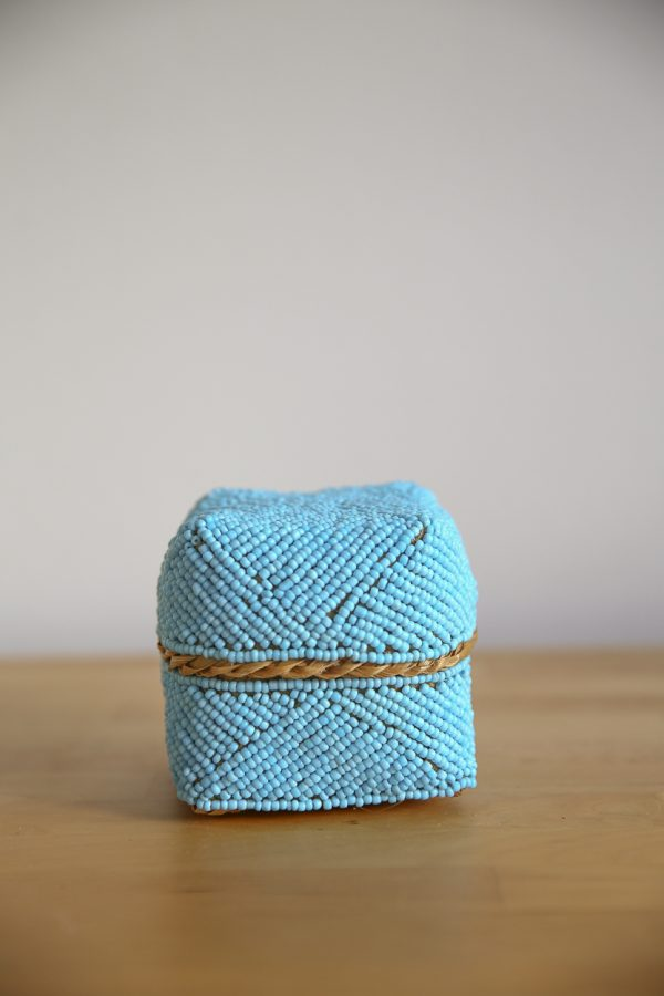 basket bamboo blue