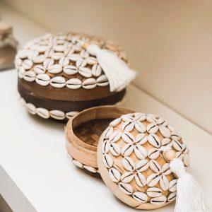 bali bliss Utari set - set of 3 beaded baskets - round