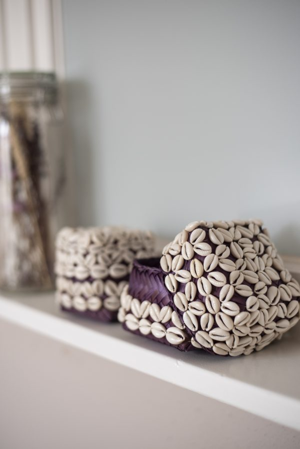 bali bliss Handwoven basket with cowrie shells