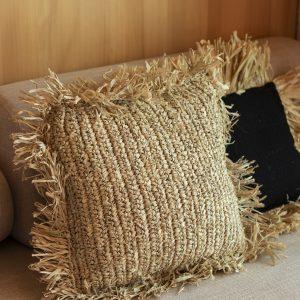 raffia cushion cover with fringe