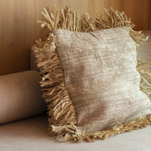 linen cushion cover with fringe