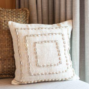 bali bliss cushion cover cowrie shells