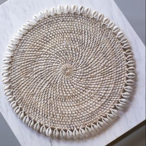 Asih rattan placemat with cowrie shells