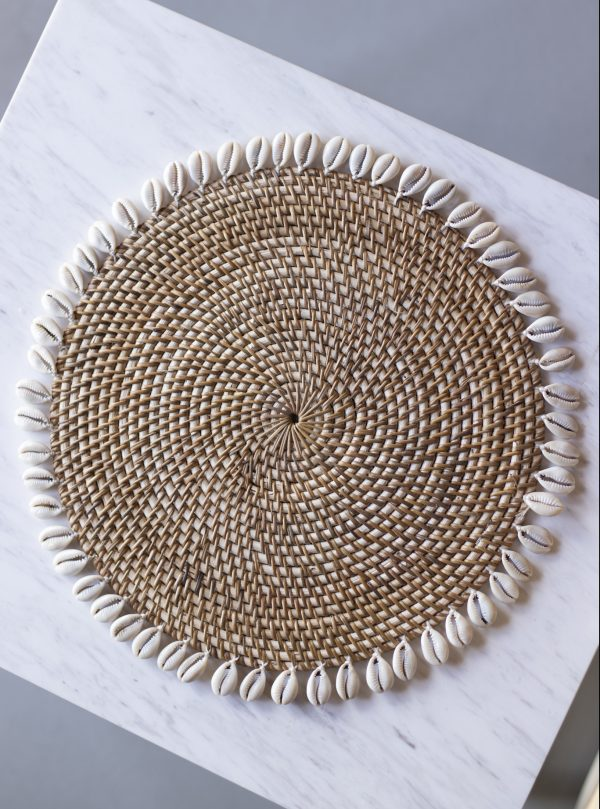 aris rattan placemat with cowrie shells