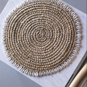 Banyu raffia placemat with cowrie shells