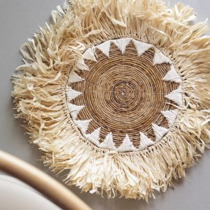 Raffia and banana leaf placemat with macramé