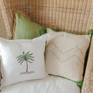 bali bliss cushion cover linen green