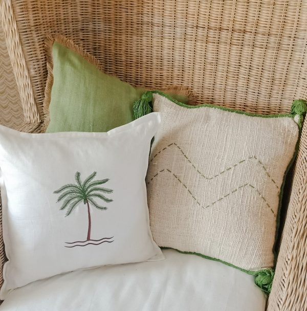 bali bliss cushion cover linen green
