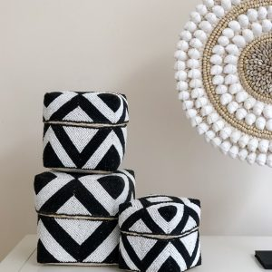 bali bliss beaded baskets black white