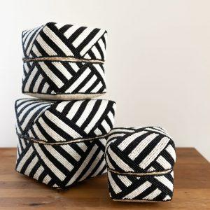 Set of 3 beaded baskets