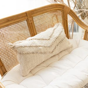 Soft cotton cushion cover with cowrie shells