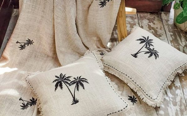 soft cotton cushion cover with palm tree embroidery