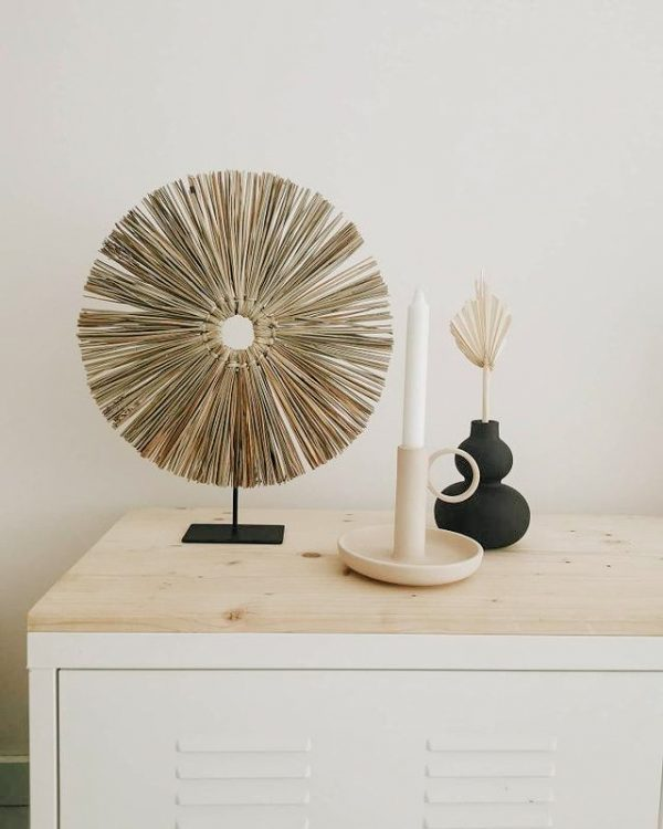 Seagrass decoration on metal stand