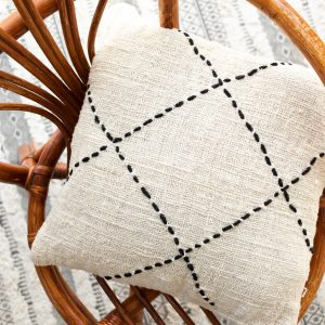 Soft cotton cushion cover with geometric embroidery