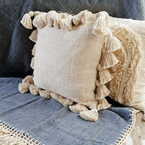 NEW! Soft cotton cushion cover with tassels